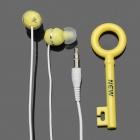 Stylish In-Ear Stereo Earphone w/ Key Shaped Cord Organizer - Yellow (3.5mm-Plug / 100cm-Cable)