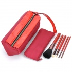 Portable Beauty Cosmetic Makeup Brush Set with Crimson Bags (5-Piece Pack)