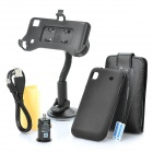 Car Mount Holder + Protecting Case + USB Cable + Car Charger Set for Samsung Galaxy s/i9000 - Black