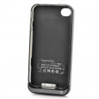 1800mAh Rechargeable External Battery + PC Protecting Back Case + USB cable for iPhone 4S - Black
