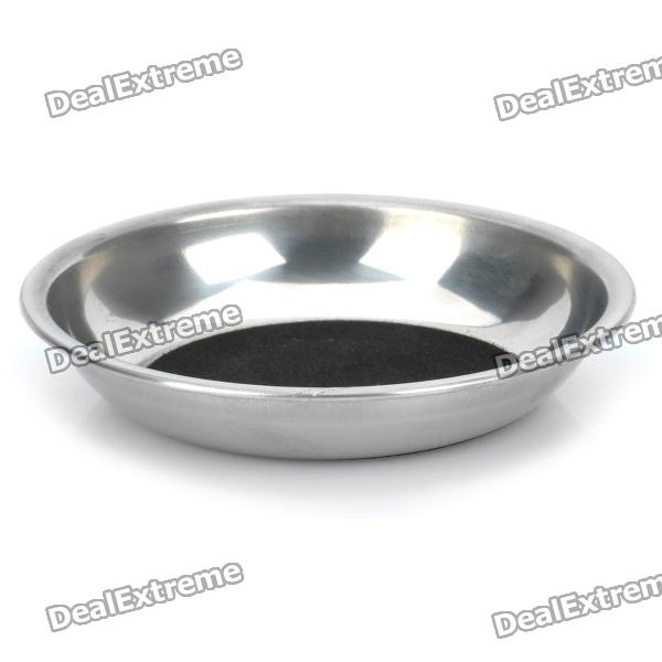 Party Magic Coin into Glass Dish Magician Trick Tool - Silver + Black
