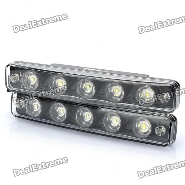 5W 7500K 180LM 5-LED White Light Car Daytime Running Lamps (DC 12V / Pair)