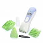 "0.8"" LCD Rechargeable Children Water Resistant Hair Clipper Trimmer w/ Accessories - Blue + White"