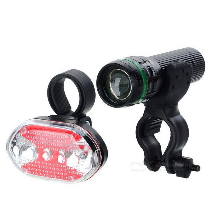 3-Mode 1-LED White Head Light + 7-Mode 5-LED Red Rear Light Set (3 x AAA / 2 x AAA)