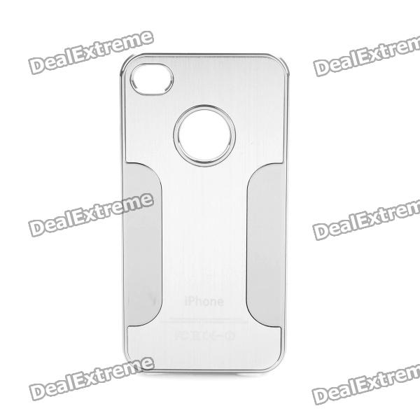Protective Aluminum Alloy Back Case for Iphone 4 / 4S - Silver qqv6 aluminum alloy 11 blade cooling fan for graphics card silver 12cm