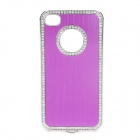 Protective Aluminum Alloy Cover PC Back Case for Iphone 4 / 4S - Purple