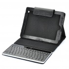 USB Rechargeable Bluetooth V2.0 84-Key Keyboard w/ Protective Leather Case for iPad 2 - Black