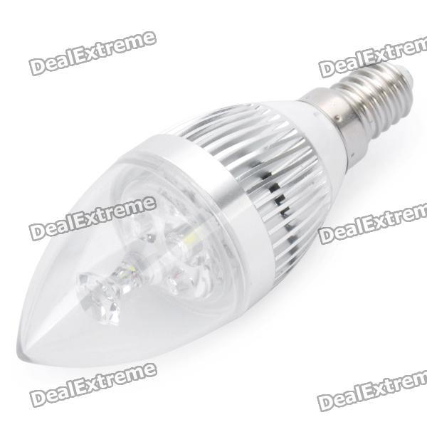 E14 3W 7000K 270-Lumen 3-LED White Light Bulb (AC 180~240V)