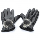 Lady's Genuine Leather Lady Warming Gloves - Black (Size-L / Pair)