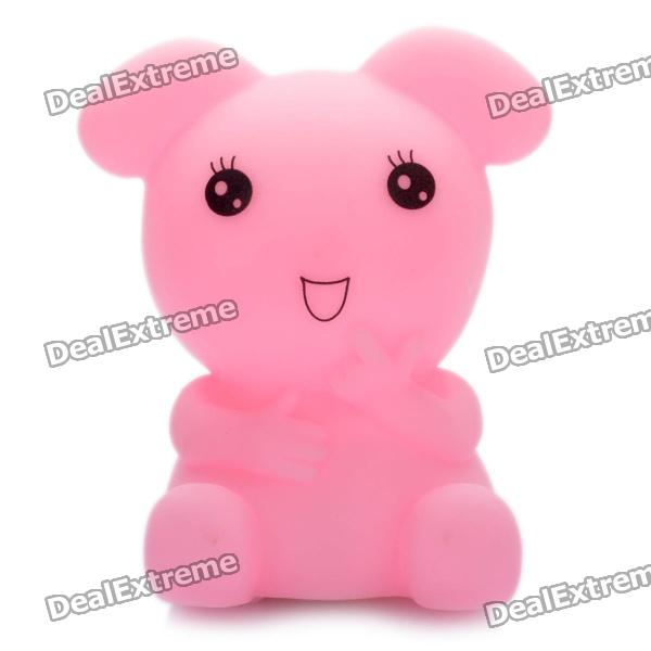 Cute Animal Style Color Changing Night Light Lamp - Pink (3 x AG13)