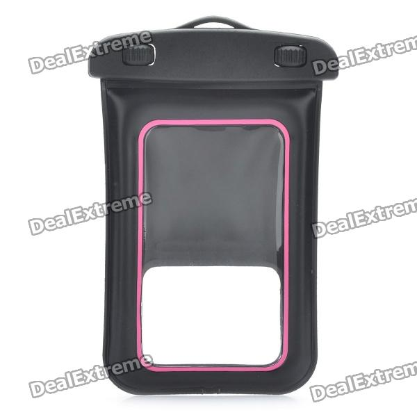 Universal Waterproof Bag with Armband / Strap for Iphone / Cell Phone - Black + Deep Pink