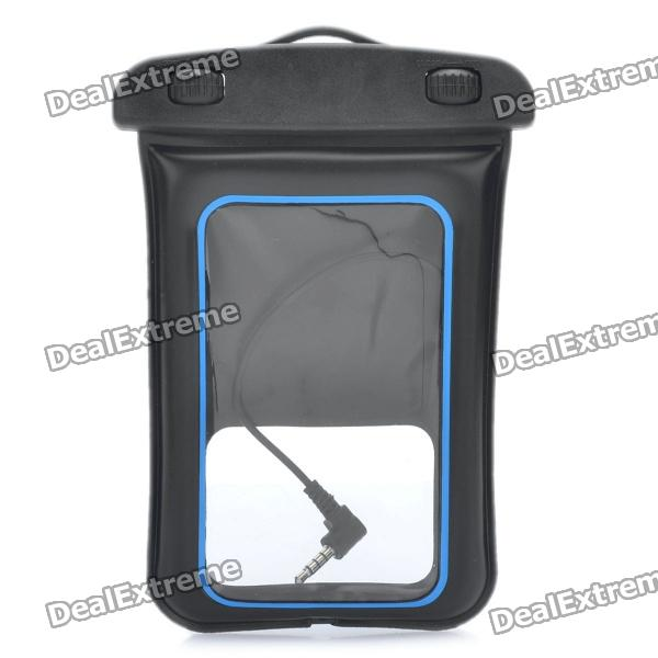 Universal Waterproof Bag w/ 3.5mm Earphone / Armband / Strap for Iphone / Cell Phone - Black + Blue universal waterproof bag protective mobile phone bag w arm band strap orange black