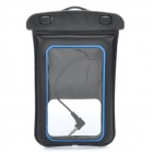 Universal Waterproof Bag w/ 3.5mm Earphone / Armband / Strap for Iphone / Cell Phone - Black + Blue