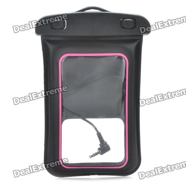 Universal Waterproof Bag w/ Earphone / Armband / Strap for Iphone / Cell Phone - Black + Deep Pink universal waterproof bag protective mobile phone bag w arm band strap orange black