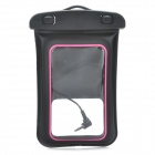 Universal Waterproof Bag w/ Earphone / Armband / Strap for iPhone / Cell Phone - Black + Deep Pink