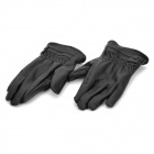 Genuine Leather Thickened Warm Lady Gloves - Black (Pair/XL)