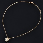 Elegant Pearl Style Imitated Diamond Gold Plated Necklace - Golden (24CM - Length)