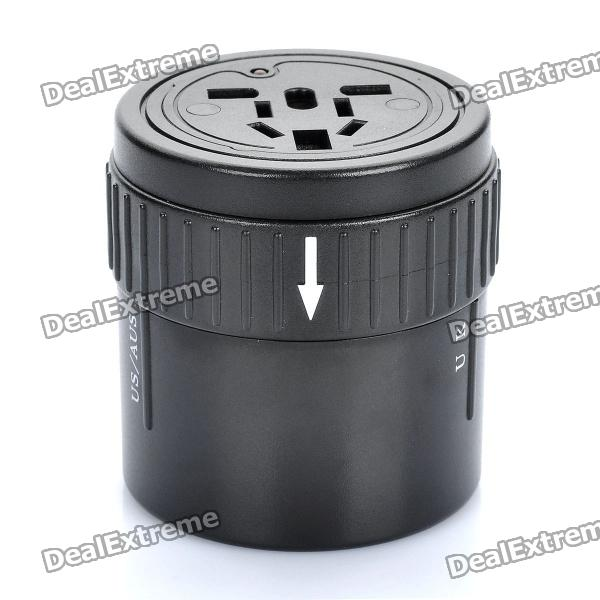 Universal 4-In-1 Cylindrical Retractable Plug Adapter (110~250V) - DXPlugs &amp; Sockets<br>Color: Black - Material: Plastic - Built-in protective tube - Voltage: 110~250V - With AU / UK / US / EU retractable plug - Load power: 2000W (Max) - No variable pressure function<br>