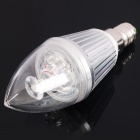 E14 3W 240-300LM 6000-6500K White 3-LED Candle Style Light Bulbs - Silver (220V)