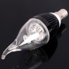 E14 3W 240-300LM 6000-6500K White 3-LED Candle Style Light Bulbs - Black (220V)