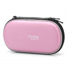 Protective PU Leather Carrying Pouch w/ Carabiner Clip for PS Vita - Pink