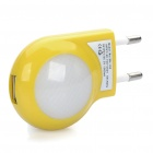 AC Power Adapter w/ 2-LED White Lights + USB Cable Set for iPhone - Yellow (EU Plug)