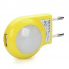 AC Power Adapter w/ 2-LED White Lights + Micro USB Data & Charging Cable Set - Yellow