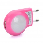 AC Power Adapter w / 2-LED White Lights + USB Daten & Ladekabel Set für Apple iPhone - Deep Pink