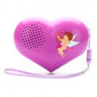 Transformable Oval / Heart Shaped MP3 Player Music Speaker with TF / Mini USB / AUX - Purple