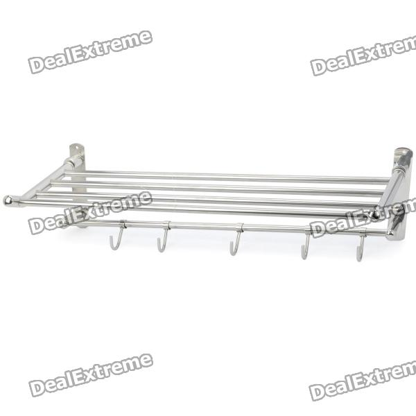 "24"" Stainless Steel Bathroom Towel Rack w/ Hooks"