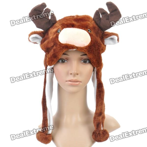 Cute Deer Style Short Plush Winter Hat - Dark Brown
