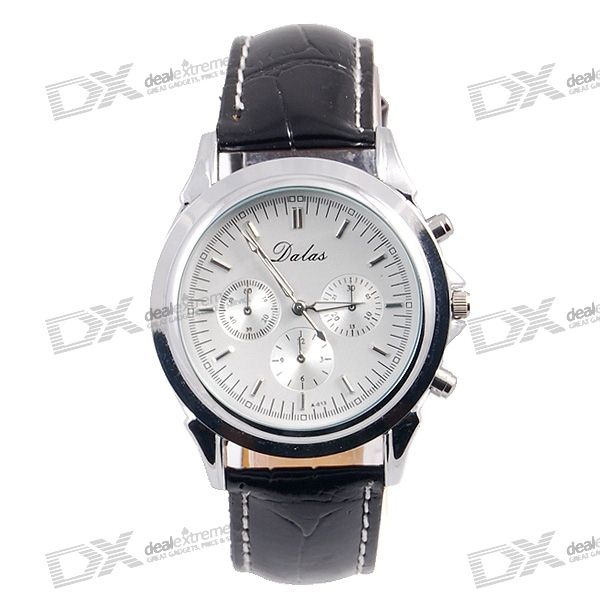 Stylish Tachometer Water Resistent Watch with PU Leather Belt