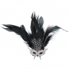 Elegant Butterfly Mask Brooch - Silver + Black