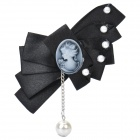 Elegant Girl Relief Bowknot Brooch - Black