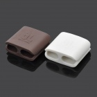 Silicone Square Scattered Wires Organizer - White + Brown (Pair / Large Size)