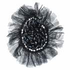 Elegant Crystal Mesh Fabric Brooch - Black
