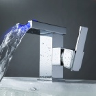 LED Color Changing Waterfall Chrome Bathroom Faucet (RGB LED Emitter)