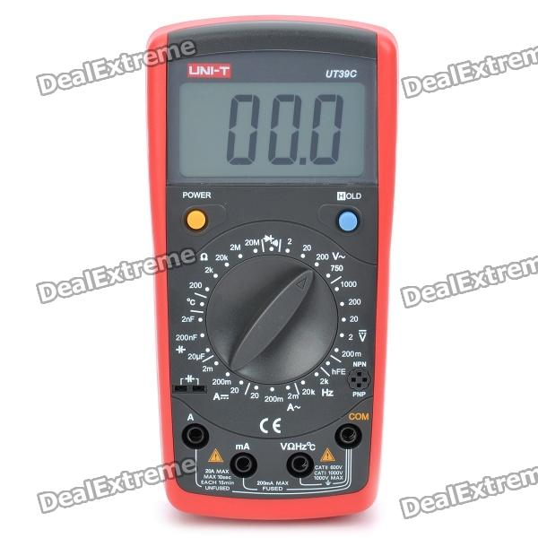 UNI-T UT39C 2.5 LCD Digital Multimeter - Red + Black (1 x 9V 6F22 Battery) pro skit mt 1210 2 0 lcd digital multimeter blue deep grey 1 x 9v battery