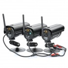 1-to-3 2.4GHz Wireless Waterproof Surveillance Security Cameras w/ 27-IR LED Night Vision - Black