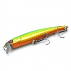 Lifelike Fish Style Fishing Bait w/ Treble Hooks - Green + golden