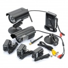 1-to-2 2.4GHz Wireless Waterproof Surveillance Security Cameras w/ 27-IR LED Night Vision - Black