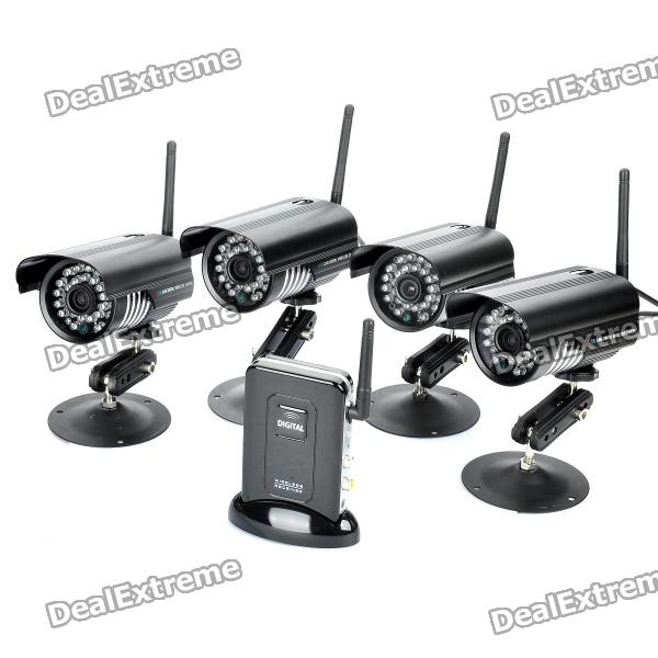 1-to-4 2.4GHz Wireless Waterproof Surveillance Security Cameras w/ 27-IR LED Night Vision - Black - DXCCTV Cameras<br>Color: Black - Model: RC451F + CM209Cx4 - Includes: 1pc receiver + 4pcs cameras - Transmission frequency: ISM 2.400-2.480GHZ - Transmission power: 15dBi - Unobstructive effective range: 130m outdoor/40m indoor - Spread spectrum: FHSS - Modulation: GFSK - Operating Temperature: 14-122 Fahrenheit/-10-+50 Celsius - Operating Humidity: 85% - Imaging sensor type: CMOS - Picture Total Pixels: 640 x480 pixel - Minimum illumination: 0 lux (IR on) - Night vision distance: 10m - IR led: 27pcs - Lens: 6.0mm - View angle: 50 degree - Camera Consumption current: Max 850mA - Camera Power supply: 5V DC - Display feature: Single/QUAD display - Resolution supported: VGA 640x480 (NTSC/30fps PAL/25fps) - Receiving sensitivity: -81dbm - Receiver consumption current: Max 350mA - Receiver power supply: 5V DC - Accessories: - 4 x Antenna - 4 x 100~240V power adapter (2-flat-pin plug / 140cm cable) - 4 x Mount holder - 4 x Wrench - 4 x Screw pack (each pack contains 3pcs screws) - 1 x 100-240V power adapter for receiver (2-flat-pin plug / 117cm cable) - 1 x AV cable (115cm) - 1 x English user manual<br>