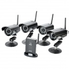 1-to-4 2.4GHz Wireless Waterproof Surveillance Security Cameras w/ 27-IR LED Night Vision - Black
