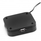 Mirror Surface USB 2.0 4-Port HUB with Blue Indicator - Black