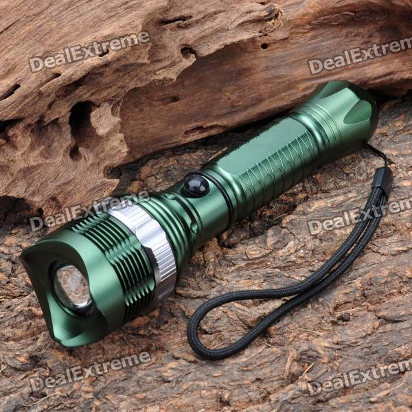 320LM 3-Mode White Light Zoom Focus Adjustable LED Flashlight - Dark Green (1 x 18650) 2017 mini led torch 7w 2000lm cree q5 led flashlight adjustable focus zoom flash light lamp free shipping 3modes