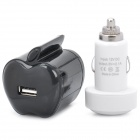 Apple Shaped 2-Round-Pin Plug USB Charger + Car Charger (95cm-Cable Length)