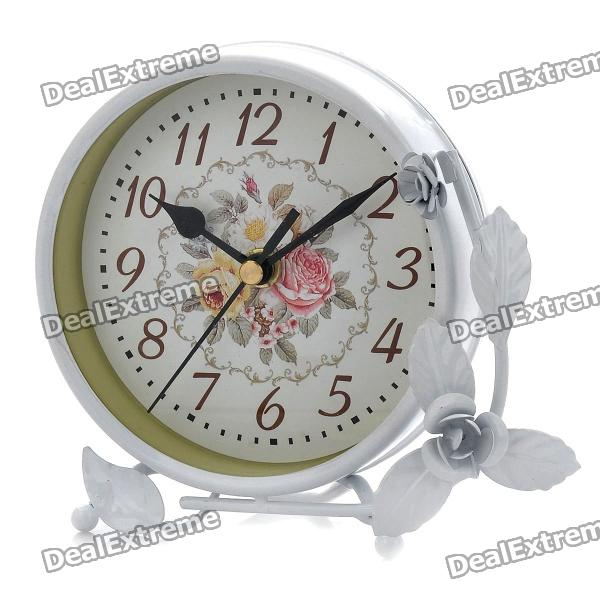 "Elegant 4.75"" Non-Ticking Silent Table Desk Clock - White (1 x AA)"