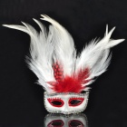 Elegant Mask Style Brooch - White + Red