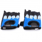 Multifunction Outdoor Sports Half-Finger Gloves - Black + Blue (M-Size/Pair)