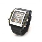 Waterproof Dual Time Display Wrist Watch w/ Stopwatch / Alarm - Black (1 x CR2025)